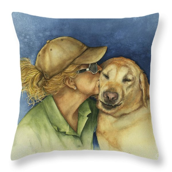 Love Me Love My Dog Throw Pillow by Nan Wright
