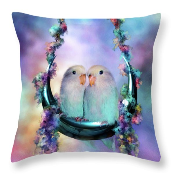 Love On A Moon Swing Throw Pillow by Carol Cavalaris