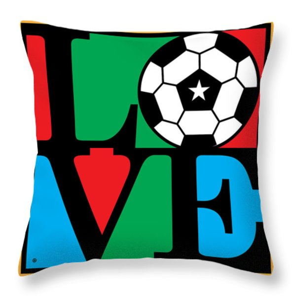Love Soccer Throw Pillow by Gary Grayson