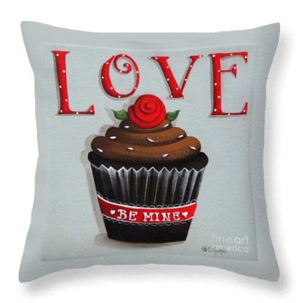 Love Valentine Cupcake Throw Pillow by Catherine Holman