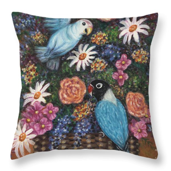 Lovebirds Two Throw Pillow by Linda Mears