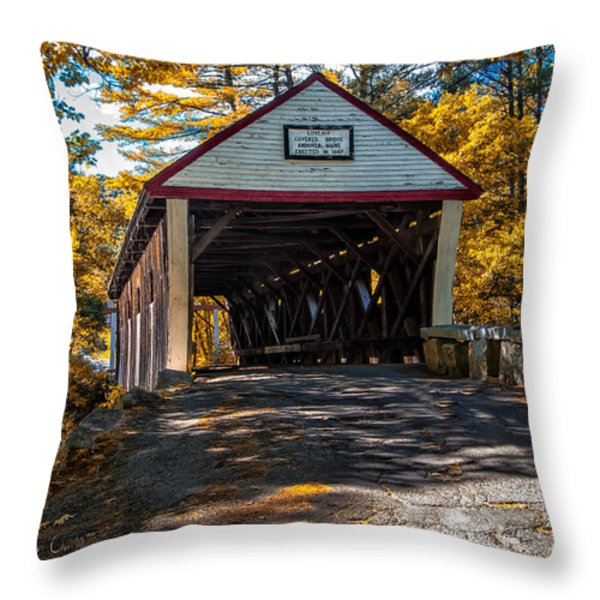 Lovejoy Covered Bridge Throw Pillow by Bob Orsillo