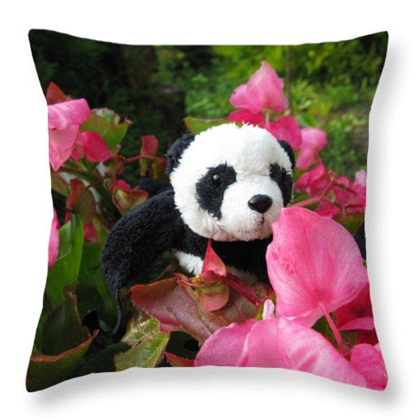 Lovely Pink Flower Throw Pillow by Ausra Paulauskaite