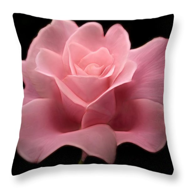 Lovely Pink Rose Throw Pillow by Nina Bradica