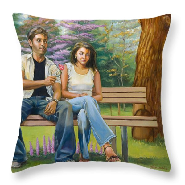 Lovers On A Bench Throw Pillow by Dominique Amendola