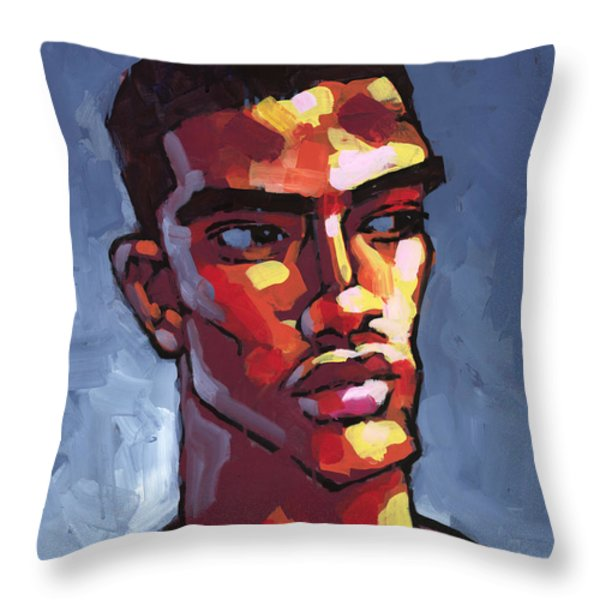 Loves Football Throw Pillow by Douglas Simonson