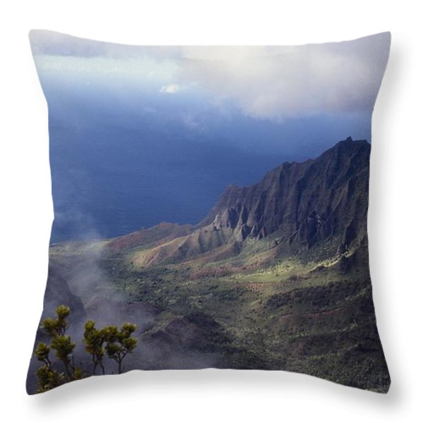 Low Clouds Over A Na Pali Coast Valley Throw Pillow by Stuart Litoff