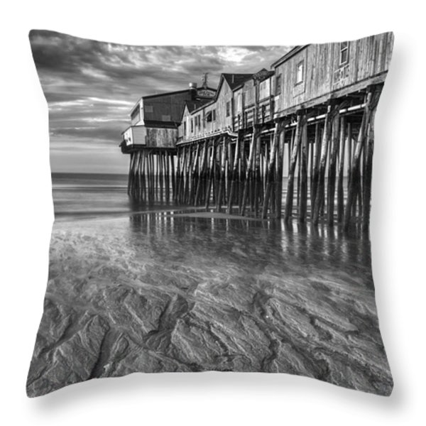 Low Tide at Orchard Beach Black and White Throw Pillow by Jerry Fornarotto