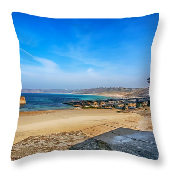 Low Tide At Sennen Cove 2 Throw Pillow by Chris Thaxter