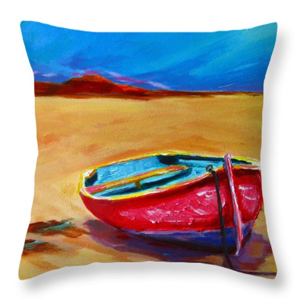Low Tides - Landscape of a red boat on the beach Throw Pillow by Patricia Awapara
