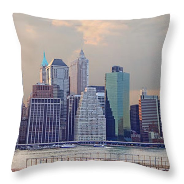 Lower Manhattan Panorama From Brooklyn Throw Pillow by Thomas Marchessault