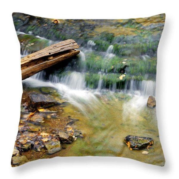 Lower Part Of Au Train Falls Throw Pillow by Optical Playground By MP Ray