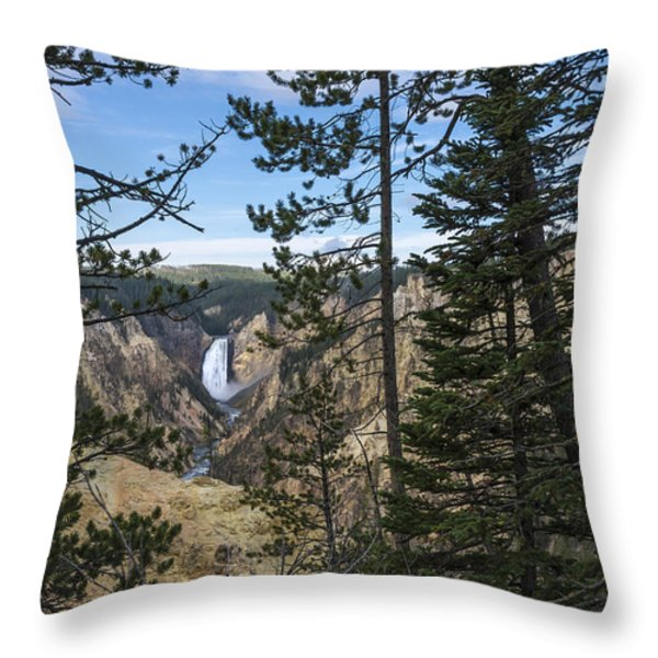 Lower Yellowstone Canyon Falls - Yellowstone National Park Wyoming Throw Pillow by Brian Harig