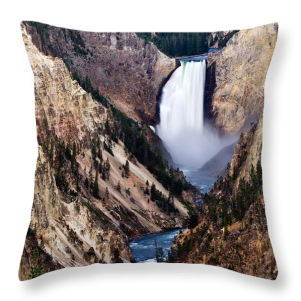 Lower Yellowstone Falls Throw Pillow by Bill Gallagher