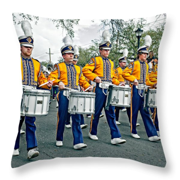 Lsu Marching Band Throw Pillow by Steve Harrington