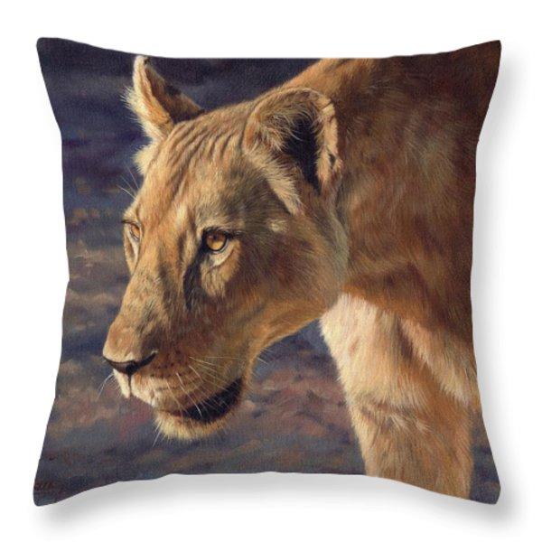 Luangwa Princess  Throw Pillow by David Stribbling