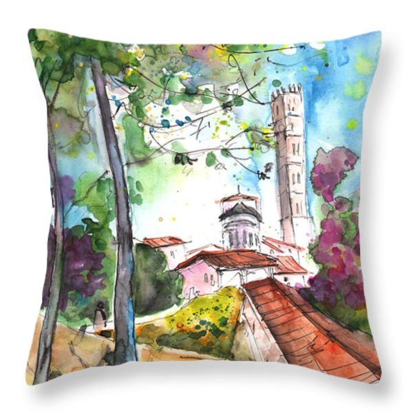 Lucca In Italy 01 Throw Pillow by Miki De Goodaboom