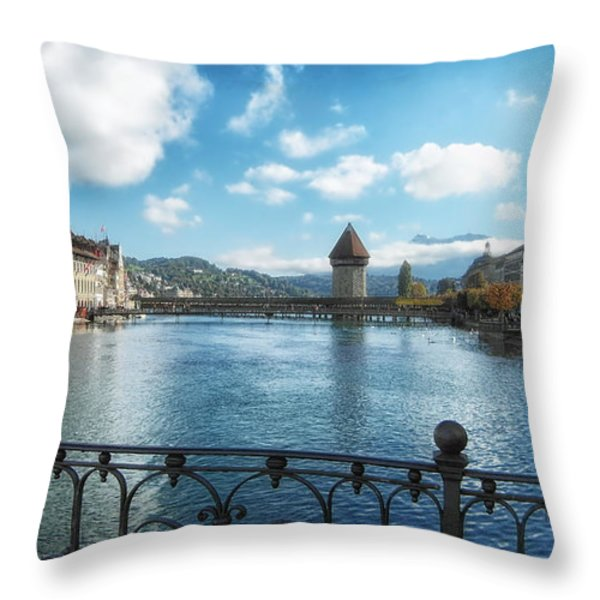 Lucerne In Autumn Throw Pillow by Mountain Dreams