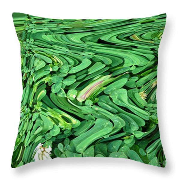 Lucky Clovers Throw Pillow by Carol Lynch