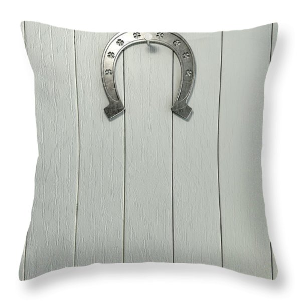 Lucky Horseshoe Entrance Throw Pillow by Allan Swart