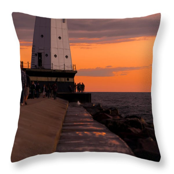 Ludington Pier And Lighthouse Throw Pillow by Sebastian Musial