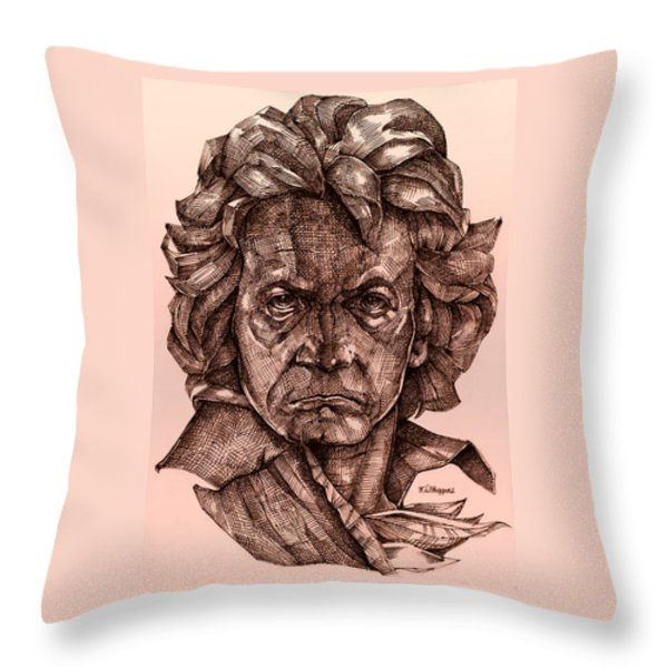 Ludwig Van Beethoven Throw Pillow by Derrick Higgins