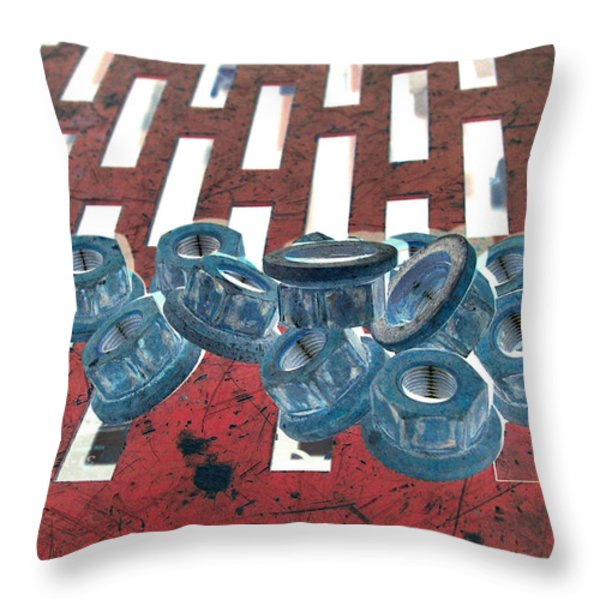 Lug Nuts On Grate Vertical Throw Pillow by Heather Kirk