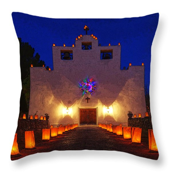 Luminaria Saint Francis De Paula Mission Throw Pillow by Bob Christopher