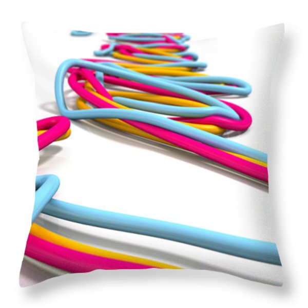 Luminous Cables Closeup Throw Pillow by Allan Swart