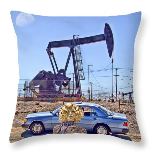 Luna Oil Throw Pillow by Chuck Staley