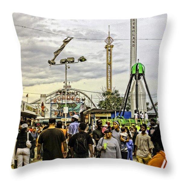 Luna Park - Coney Island - Bklyn - Ny Throw Pillow by Madeline Ellis