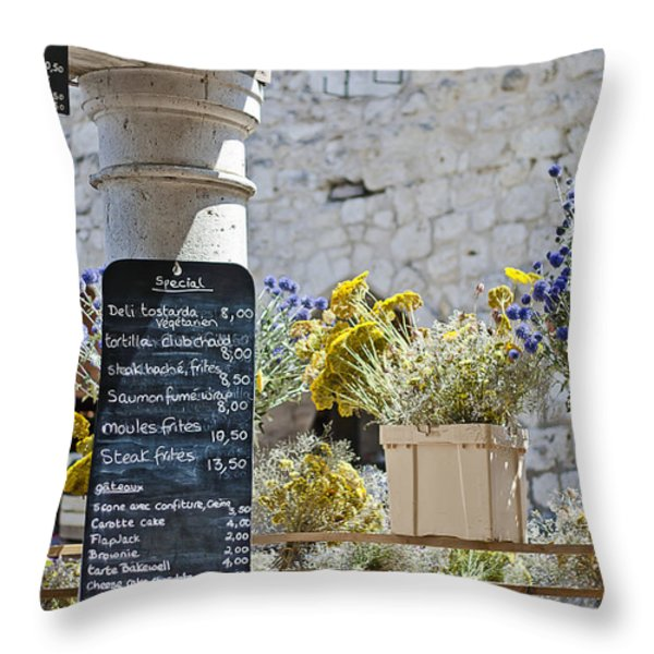 Lunch Time On Market Day Throw Pillow by Georgia Fowler