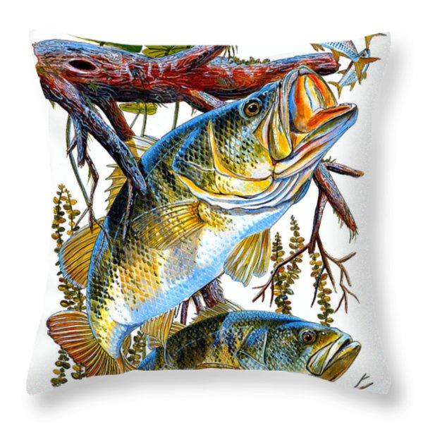 Lurking Bass Throw Pillow by Carey Chen