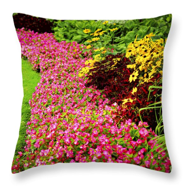 Lush Summer Garden Throw Pillow by Elena Elisseeva