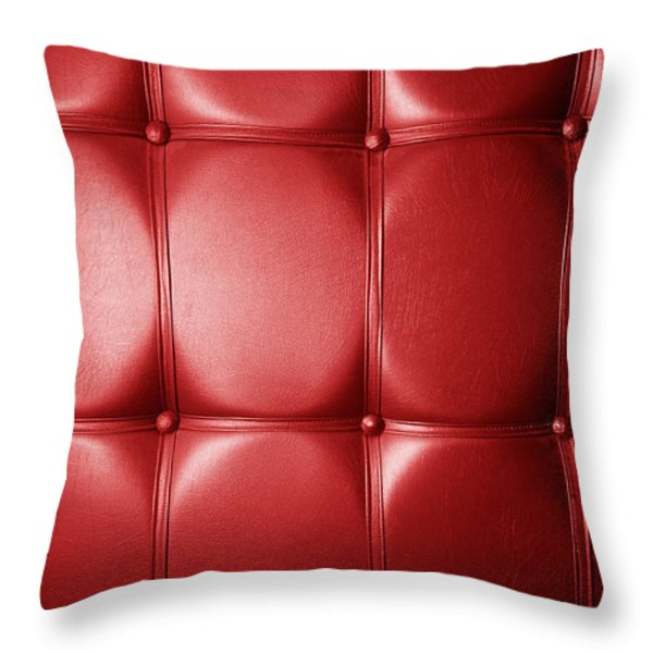 Luxury Genuine Leather. Red Color Throw Pillow by Michal Bednarek