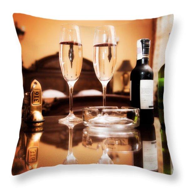Luxury interior hotel room with elegant service Throw Pillow by Michal Bednarek