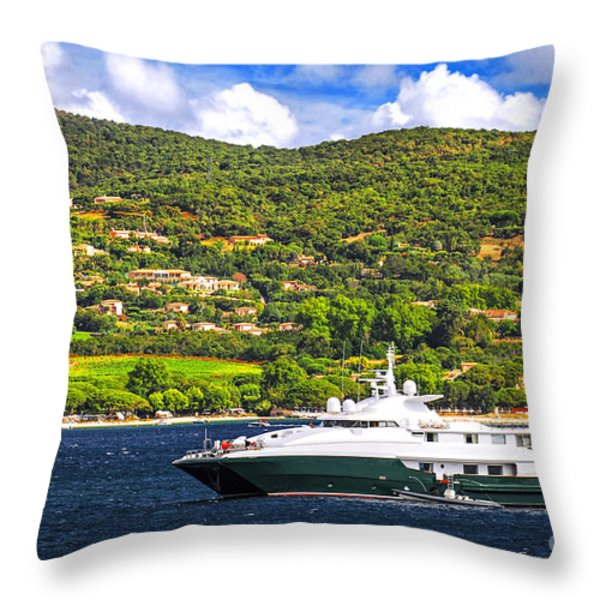 Luxury yacht at the coast of French Riviera Throw Pillow by Elena Elisseeva