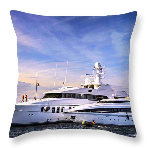 Luxury yachts Throw Pillow by Elena Elisseeva