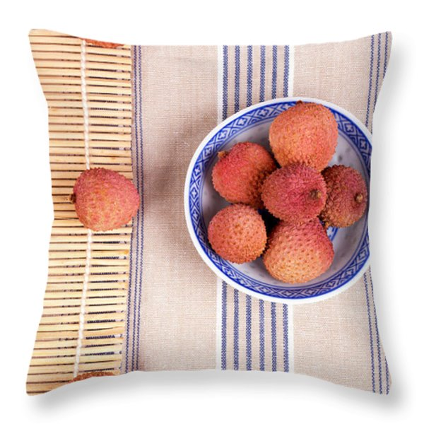 Lychess With Bamboo Mat Throw Pillow by Jane Rix