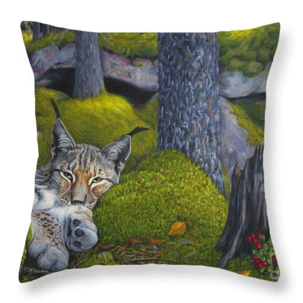 Lynx In The Sun Throw Pillow by Veikko Suikkanen