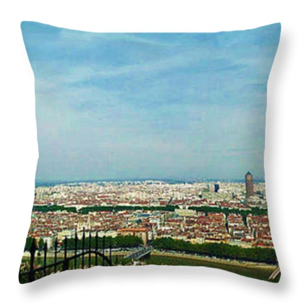 Lyon From The Basilique de Fourviere-color Throw Pillow by Paulette B Wright