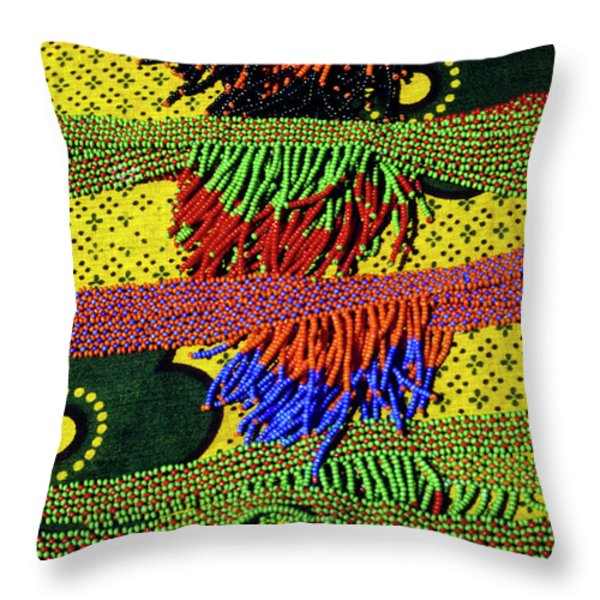 Maasai Beadwork Throw Pillow by Michele Burgess