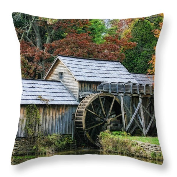 Mabry Mill II Throw Pillow by Joan Bertucci