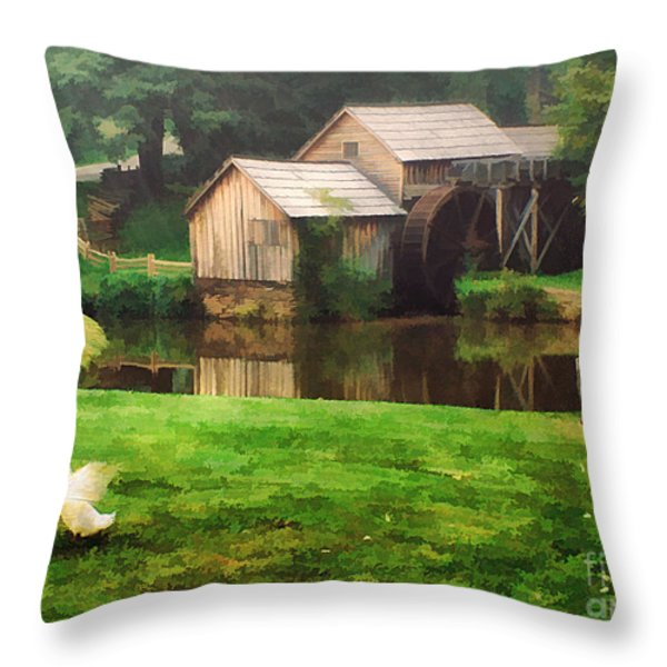 Mabrys Mill and the Welcoming Committee Throw Pillow by Darren Fisher