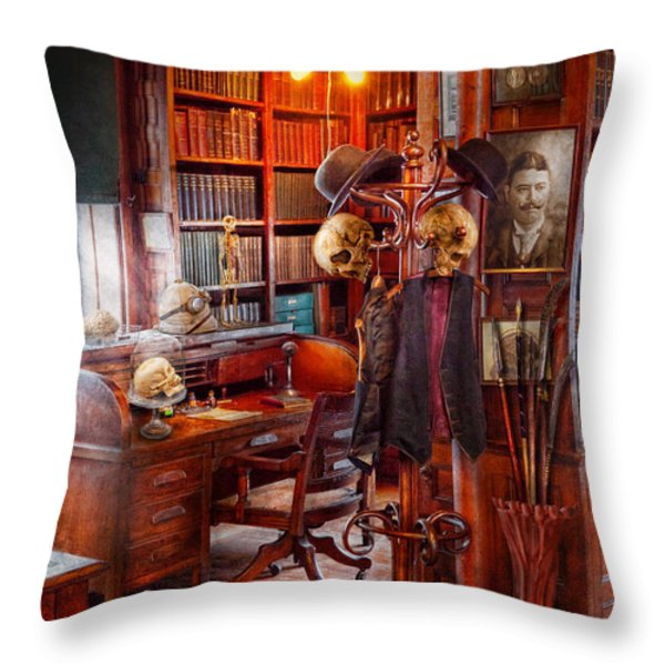 Macabre - In the Headhunters study Throw Pillow by Mike Savad
