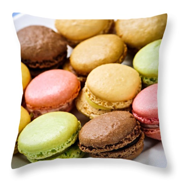 Macaroon Cookies Throw Pillow by Elena Elisseeva