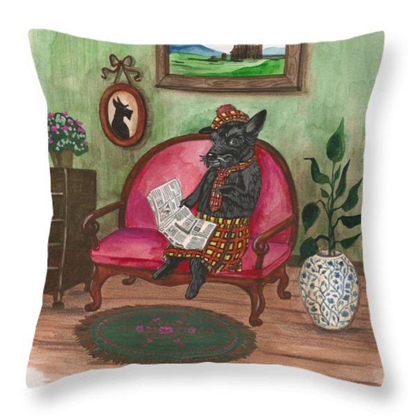 Macduff After Work Throw Pillow by Margaryta Yermolayeva