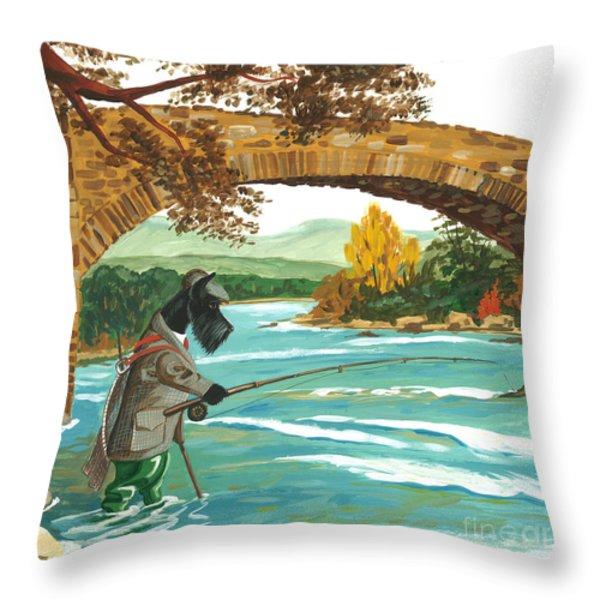 MacDuff Fishing Throw Pillow by Margaryta Yermolayeva