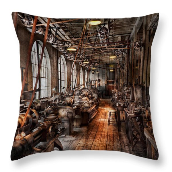 Machinist - A fully functioning machine shop  Throw Pillow by Mike Savad