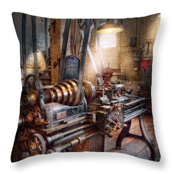 Machinist - Fire Department Lathe Throw Pillow by Mike Savad